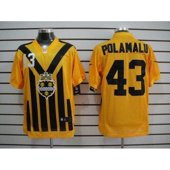 Nike Steelers #43 Troy Polamalu Gold 1933s Throwback Men's Embroidered NFL Elite Jersey