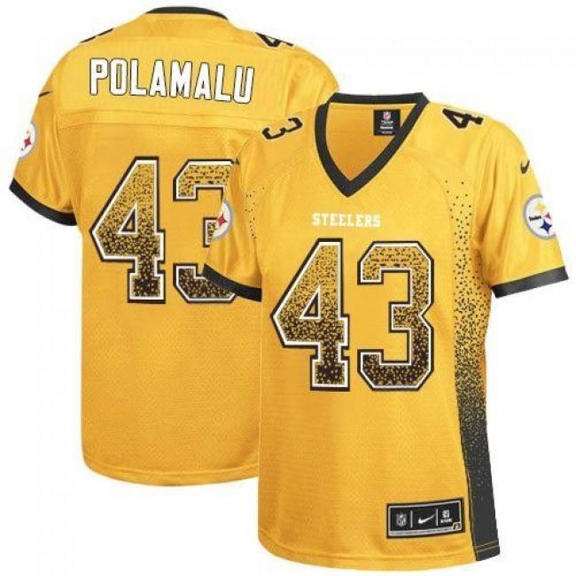 Women's Steelers #43 Troy Polamalu Gold Stitched NFL Elite Drift Jersey