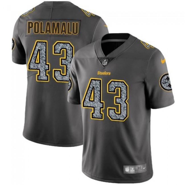 Nike Steelers #43 Troy Polamalu Gray Static Men's Stitched NFL Vapor Untouchable Limited Jersey