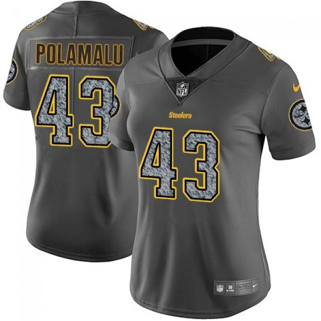 Women's Steelers #43 Troy Polamalu Gray Static Stitched NFL Vapor Untouchable Limited Jersey