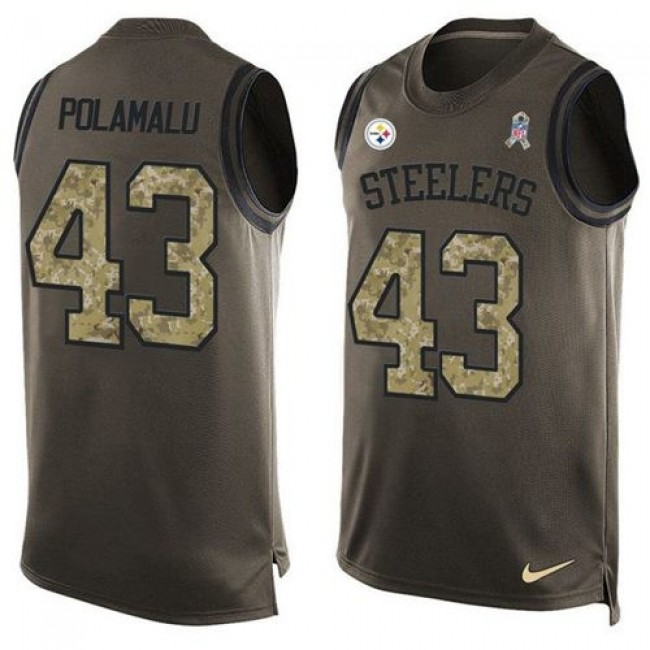 Nike Steelers #43 Troy Polamalu Green Men's Stitched NFL Limited Salute To Service Tank Top Jersey