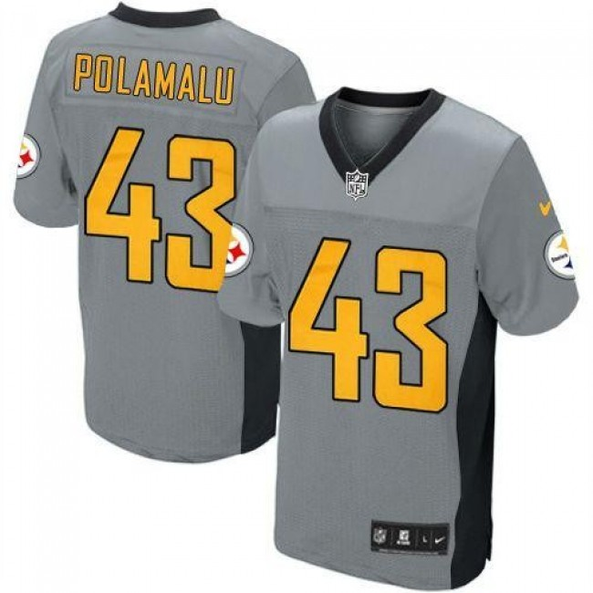 Pittsburgh Steelers #43 Troy Polamalu Grey Shadow Youth Stitched NFL Elite Jersey