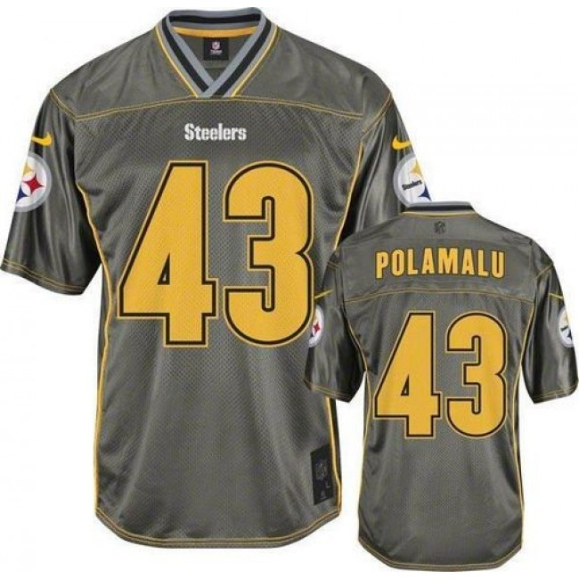 Pittsburgh Steelers #43 Troy Polamalu Grey Youth Stitched NFL Elite Vapor Jersey