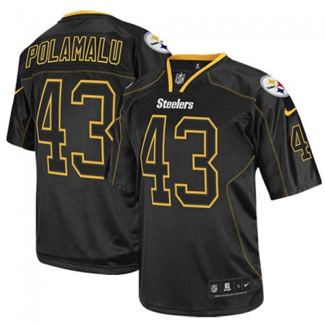 Pittsburgh Steelers #43 Troy Polamalu Lights Out Black Youth Stitched NFL Elite Jersey