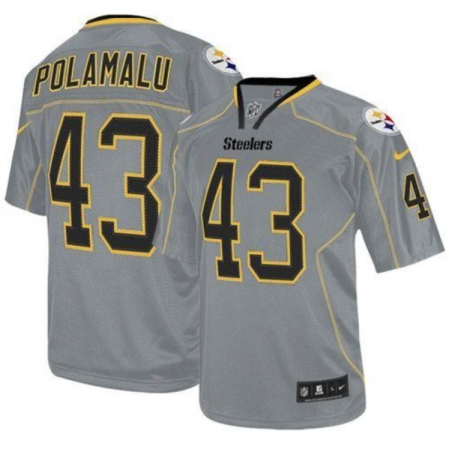 Pittsburgh Steelers #43 Troy Polamalu Lights Out Grey Youth Stitched NFL Elite Jersey