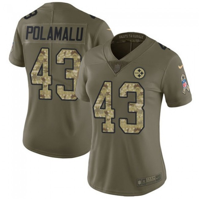 Women's Steelers #43 Troy Polamalu Olive Camo Stitched NFL Limited 2017 Salute to Service Jersey
