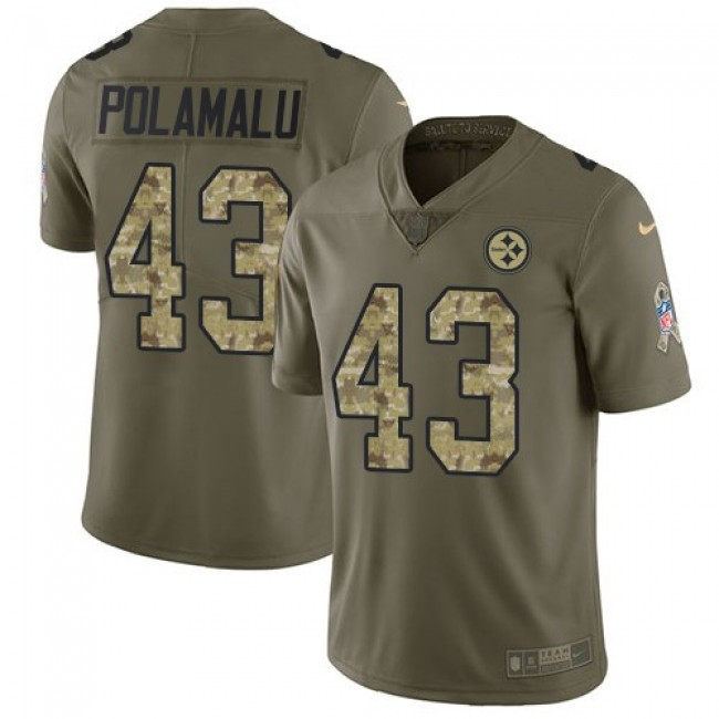 Pittsburgh Steelers #43 Troy Polamalu Olive-Camo Youth Stitched NFL Limited 2017 Salute to Service Jersey