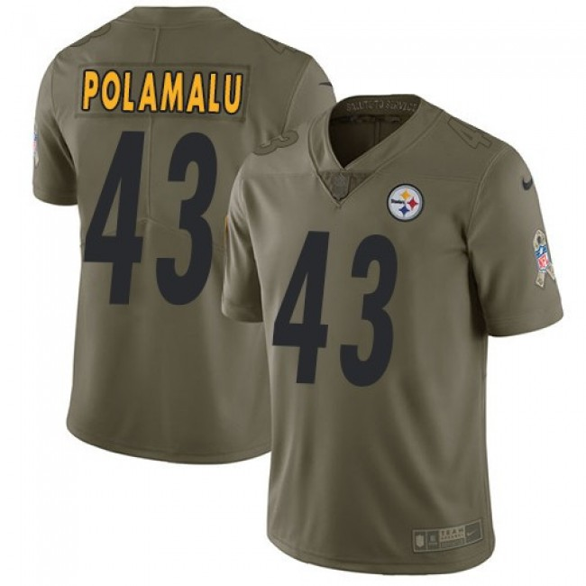 Nike Steelers #43 Troy Polamalu Olive Men's Stitched NFL Limited 2017 Salute to Service Jersey
