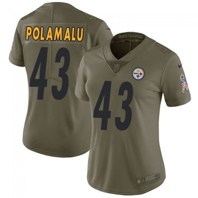 Women's Steelers #43 Troy Polamalu Olive Stitched NFL Limited 2017 Salute to Service Jersey