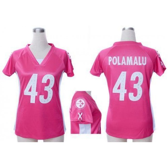 Women's Steelers #43 Troy Polamalu Pink Draft Him Name Number Top Stitched NFL Elite Jersey