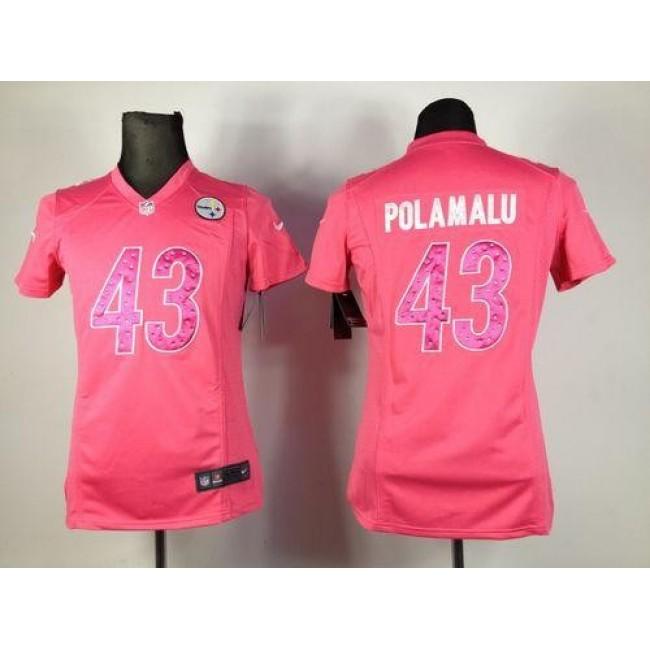Women's Steelers #43 Troy Polamalu Pink Sweetheart Stitched NFL Elite Jersey