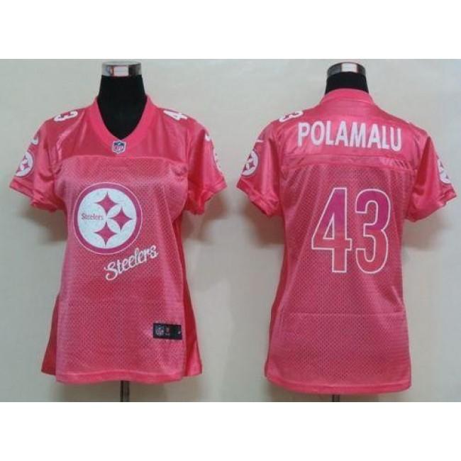 Women's Steelers #43 Troy Polamalu Pink Fem Fan NFL Game Jersey