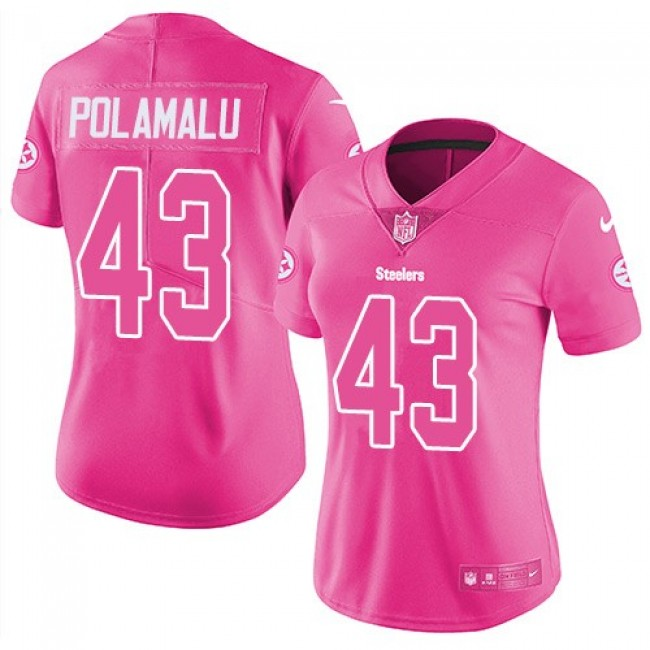 Women's Steelers #43 Troy Polamalu Pink Stitched NFL Limited Rush Jersey