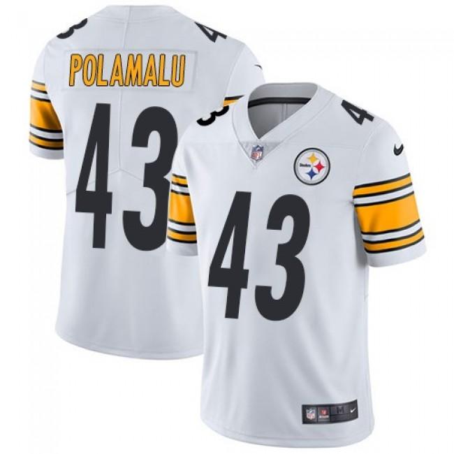 Nike Steelers #43 Troy Polamalu White Men's Stitched NFL Vapor Untouchable Limited Jersey