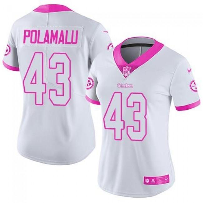 Women's Steelers #43 Troy Polamalu White Pink Stitched NFL Limited Rush Jersey