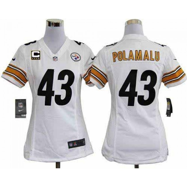 Women's Steelers #43 Troy Polamalu White With C Patch Stitched NFL Elite Jersey
