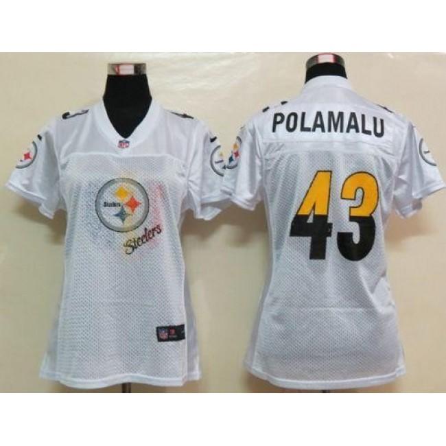 Women's Steelers #43 Troy Polamalu White Fem Fan NFL Game Jersey