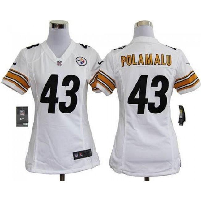 Women's Steelers #43 Troy Polamalu White Stitched NFL Elite Jersey