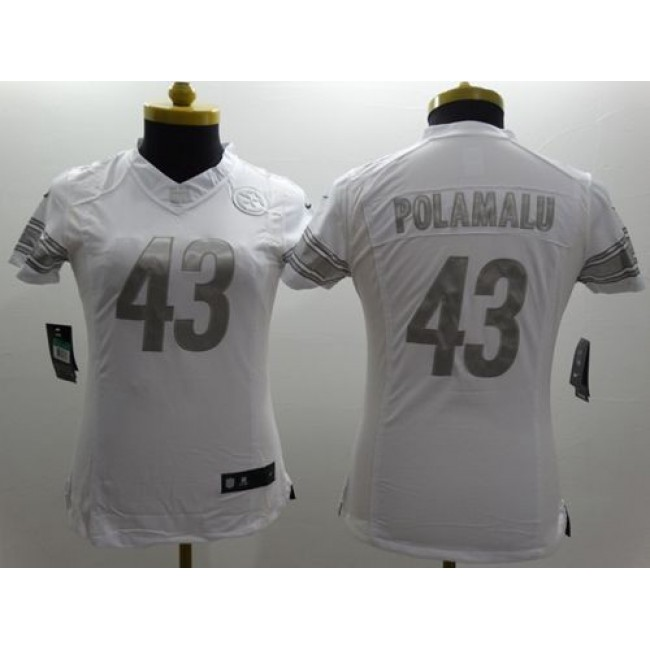 Women's Steelers #43 Troy Polamalu White Stitched NFL Limited Platinum Jersey