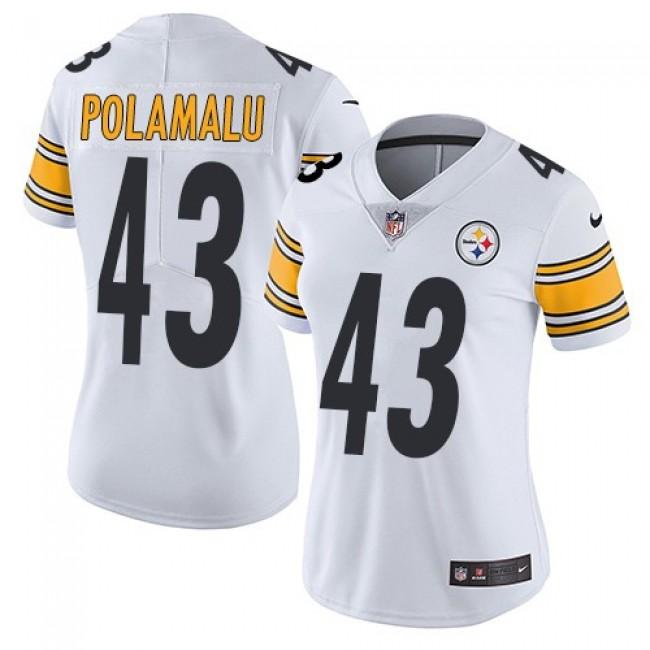 Women's Steelers #43 Troy Polamalu White Stitched NFL Vapor Untouchable Limited Jersey