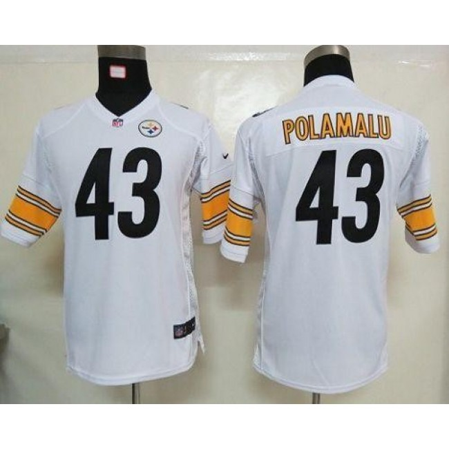 Pittsburgh Steelers #43 Troy Polamalu White Youth Stitched NFL Elite Jersey