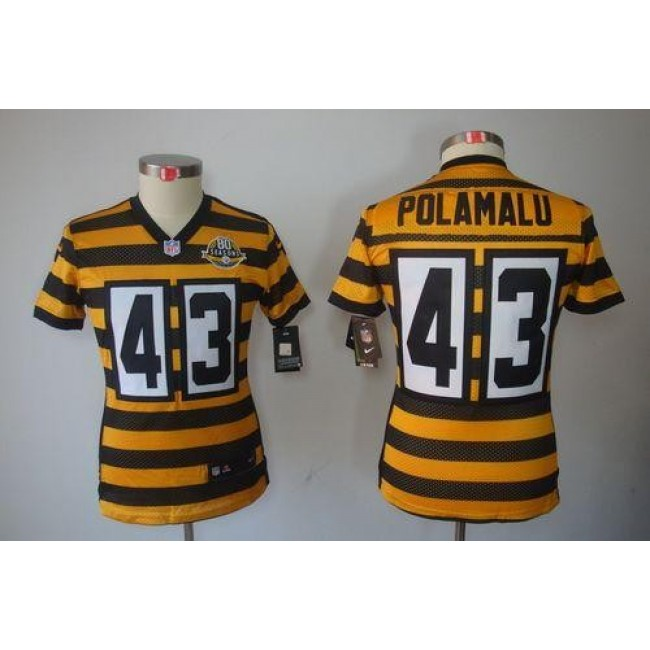 Women's Steelers #43 Troy Polamalu Yellow Black Alternate Stitched NFL Limited Jersey
