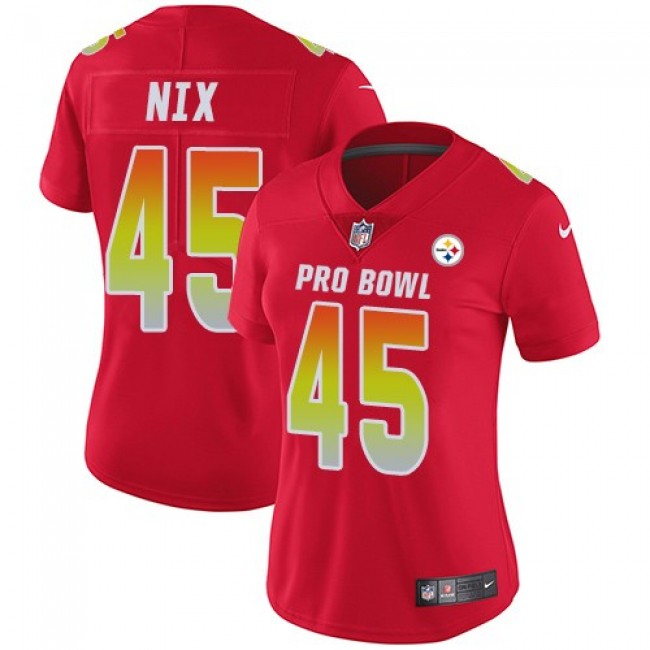 Women's Steelers #45 Roosevelt Nix Red Stitched NFL Limited AFC 2018 Pro Bowl Jersey