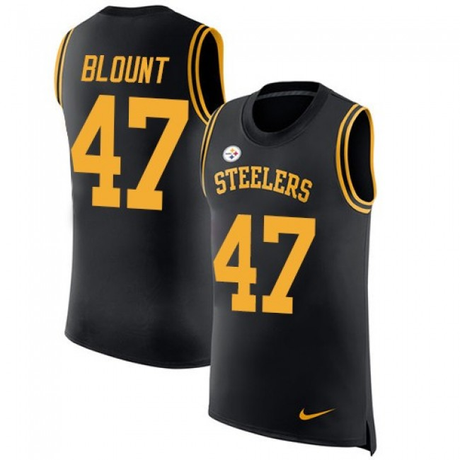 Nike Steelers #47 Mel Blount Black Team Color Men's Stitched NFL Limited Rush Tank Top Jersey