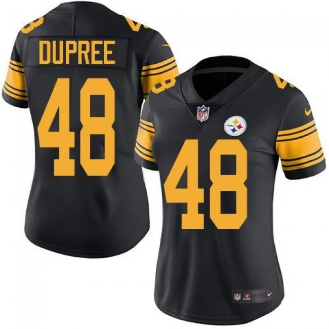 Women's Steelers #48 Bud Dupree Black Stitched NFL Limited Rush Jersey