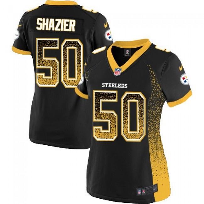 Women's Steelers #50 Ryan Shazier Black Team Color Stitched NFL Elite Drift Jersey