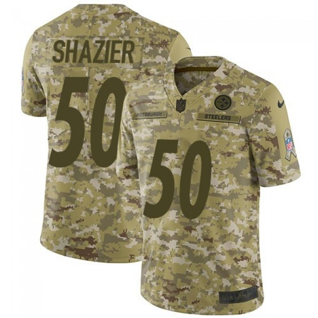 Nike Steelers #50 Ryan Shazier Camo Men's Stitched NFL Limited 2018 Salute To Service Jersey
