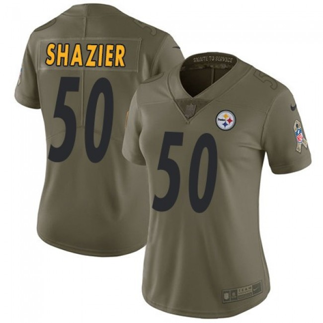 Women's Steelers #50 Ryan Shazier Olive Stitched NFL Limited 2017 Salute to Service Jersey