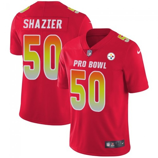 Women's Steelers #50 Ryan Shazier Red Stitched NFL Limited AFC 2018 Pro Bowl Jersey