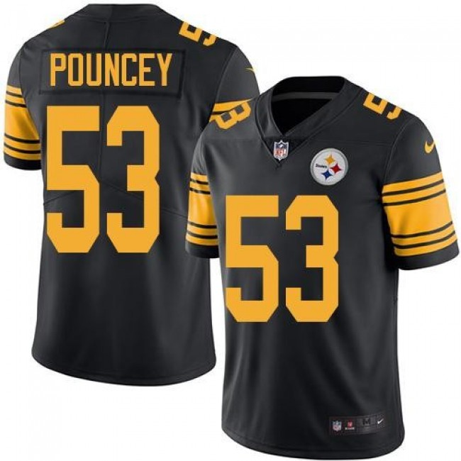 Nike Steelers #53 Maurkice Pouncey Black Men's Stitched NFL Limited Rush Jersey