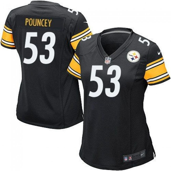 Women's Steelers #53 Maurkice Pouncey Black Team Color Stitched NFL Elite Jersey