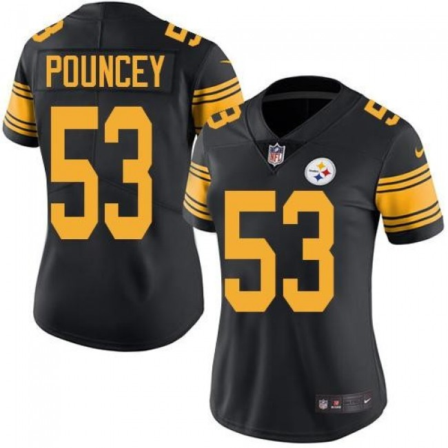 Women's Steelers #53 Maurkice Pouncey Black Stitched NFL Limited Rush Jersey