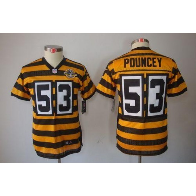Pittsburgh Steelers #53 Maurkice Pouncey Black-Yellow Alternate Youth Stitched NFL Limited Jersey