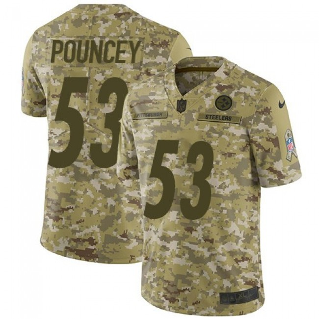 Nike Steelers #53 Maurkice Pouncey Camo Men's Stitched NFL Limited 2018 Salute To Service Jersey
