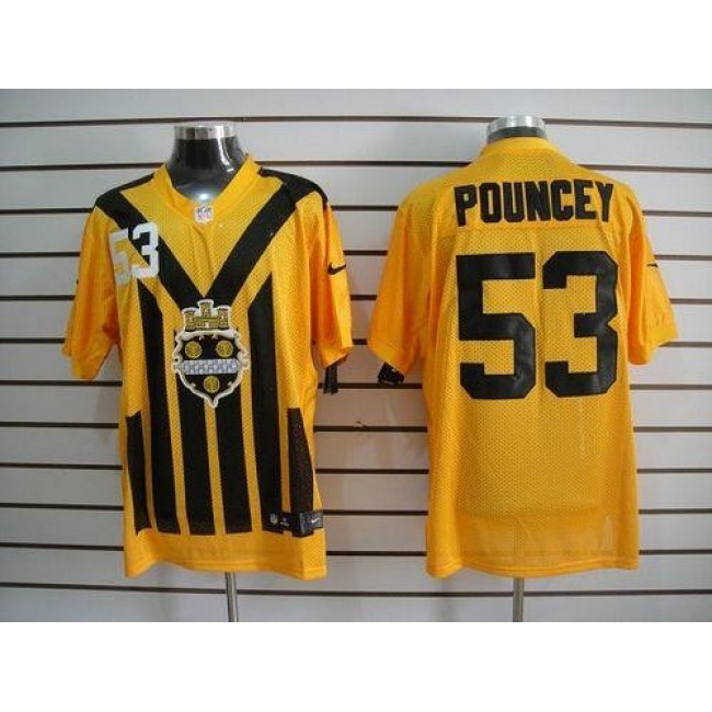 Nike Steelers #53 Maurkice Pouncey Gold 1933s Throwback Men's Embroidered NFL Elite Jersey