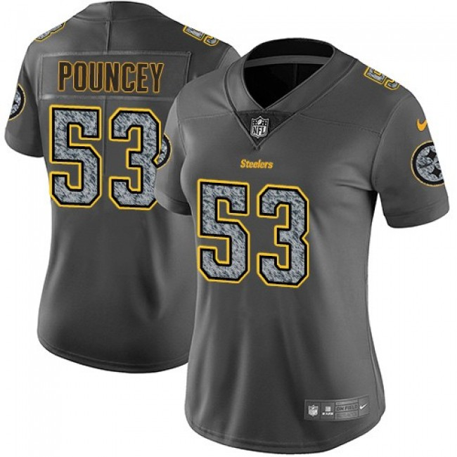 Women's Steelers #53 Maurkice Pouncey Gray Static Stitched NFL Vapor Untouchable Limited Jersey