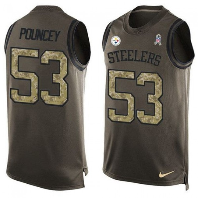 Nike Steelers #53 Maurkice Pouncey Green Men's Stitched NFL Limited Salute To Service Tank Top Jersey