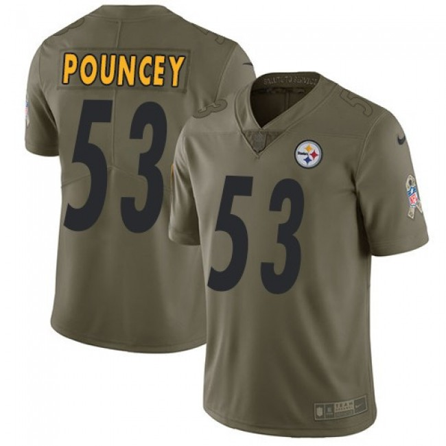 Pittsburgh Steelers #53 Maurkice Pouncey Olive Youth Stitched NFL Limited 2017 Salute to Service Jersey