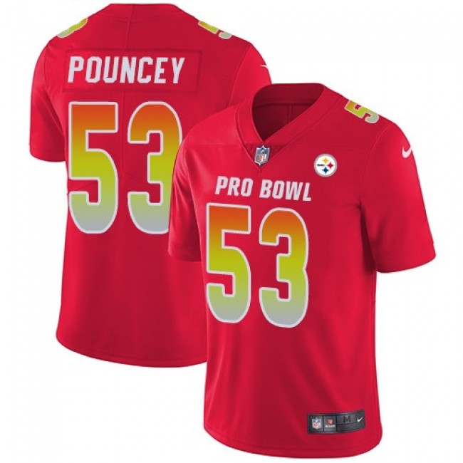 Women's Steelers #53 Maurkice Pouncey Red Stitched NFL Limited AFC 2018 Pro Bowl Jersey