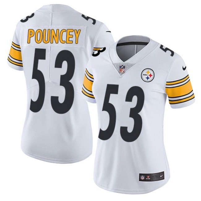 Women's Steelers #53 Maurkice Pouncey White Stitched NFL Vapor Untouchable Limited Jersey