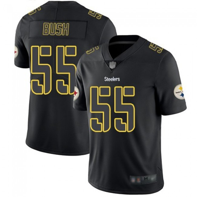 Nike Steelers #55 Devin Bush Black Men's Stitched NFL Limited Rush Impact Jersey