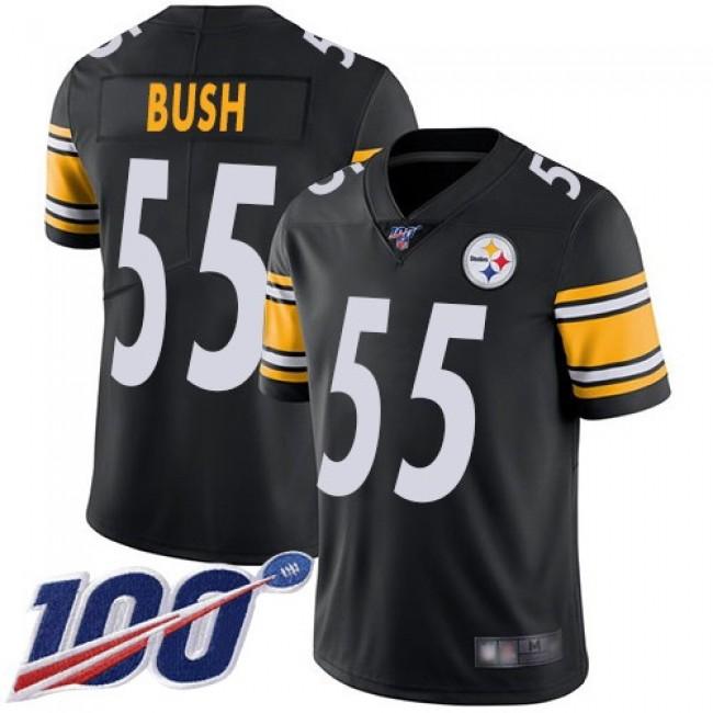 Nike Steelers #55 Devin Bush Black Team Color Men's Stitched NFL 100th Season Vapor Limited Jersey