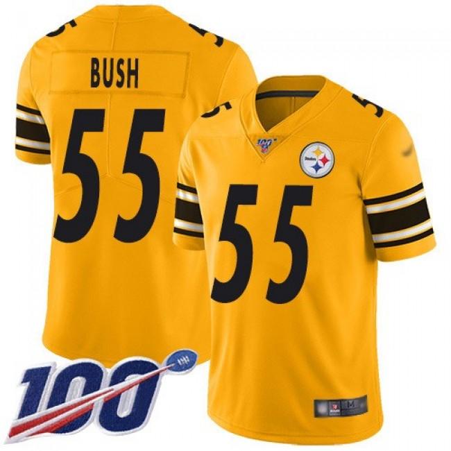 Nike Steelers #55 Devin Bush Gold Men's Stitched NFL Limited Inverted Legend 100th Season Jersey