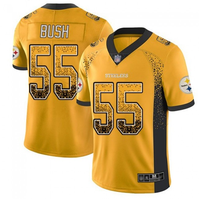 Nike Steelers #55 Devin Bush Gold Men's Stitched NFL Limited Rush Drift Fashion Jersey