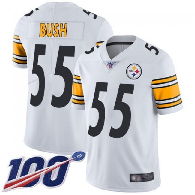 Nike Steelers #55 Devin Bush White Men's Stitched NFL 100th Season Vapor Limited Jersey