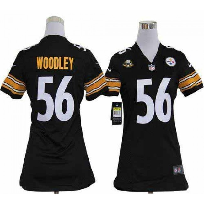 Women's Steelers #56 LaMarr Woodley Black Team Color With 80TH Patch Stitched NFL Elite Jersey